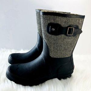 Chooka Mid Cafe Racer Herringbone Rain Boots